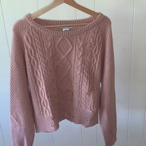 pink destroyed sweater